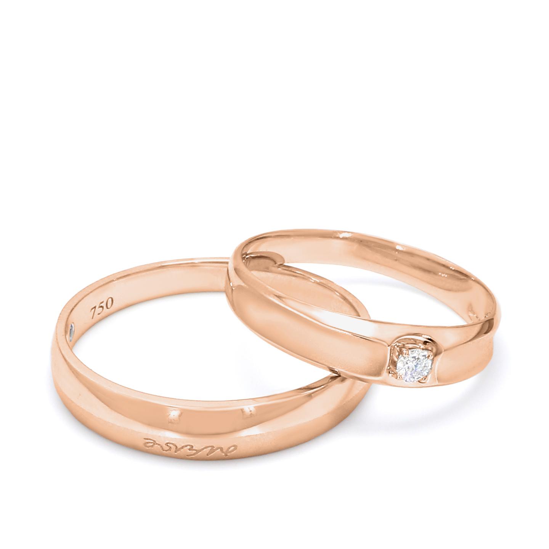 18K Rose Gold Sterling Diamond Wedding Band