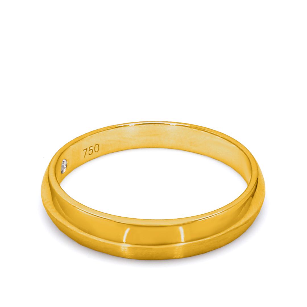 18K Yellow Gold Ella Diamond Men Wedding Band