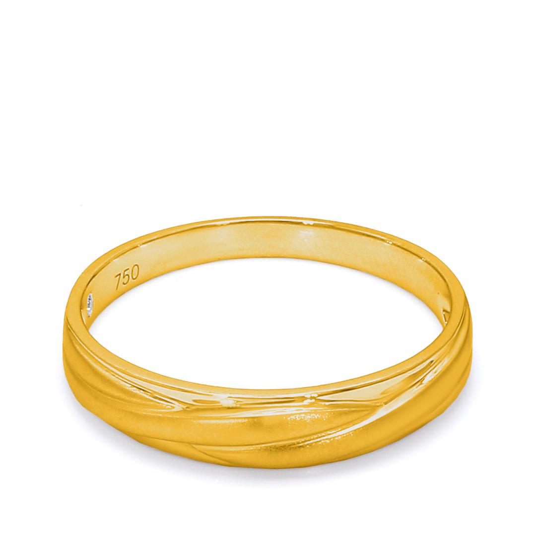 18K Yellow Gold Zoe Diamond Men Wedding Band
