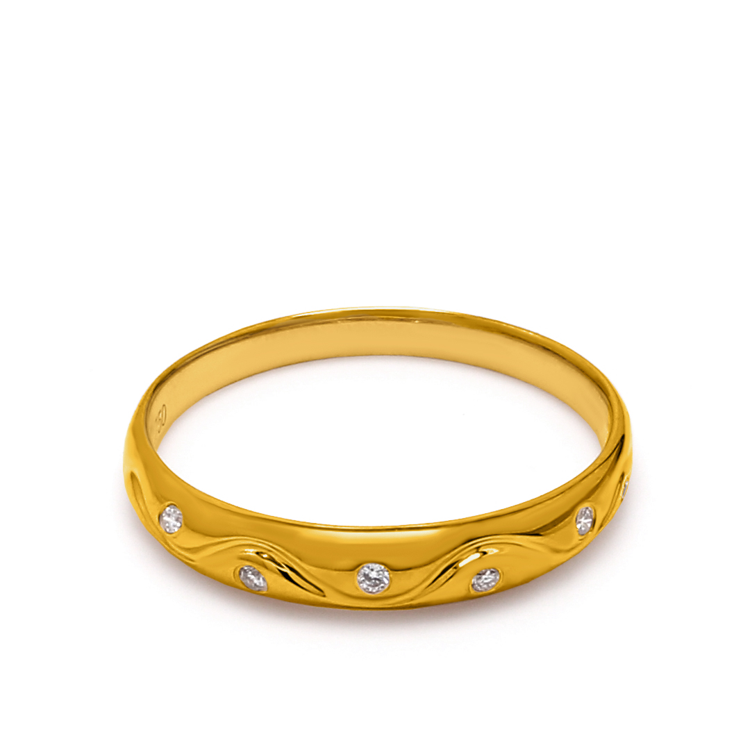 18K Yellow Gold Ava Diamond Women Wedding Band
