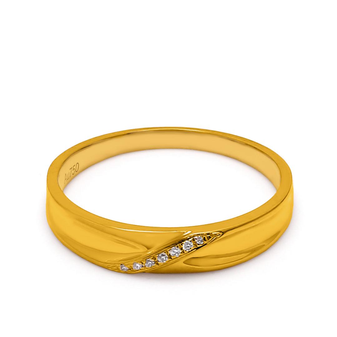 18K Yellow Gold Hera Diamond Men Wedding Band
