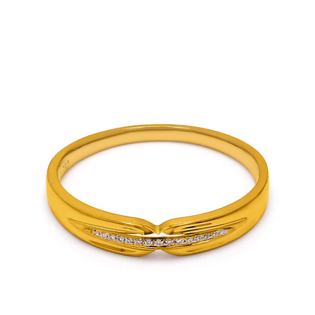 18K Yellow Gold Thalia Diamond Women Wedding Band