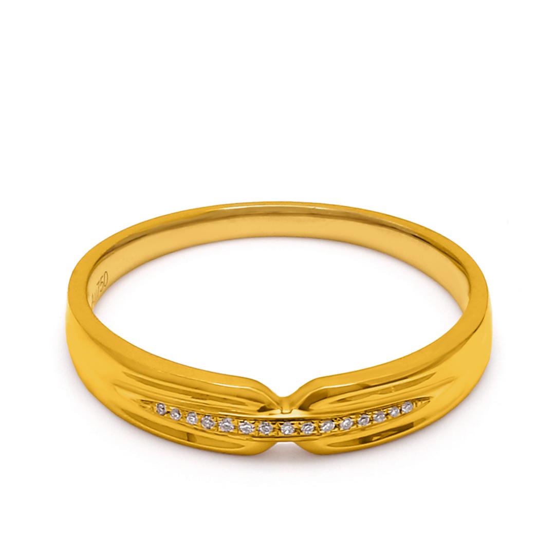 18K Yellow Gold Thalia Diamond Men Wedding Band