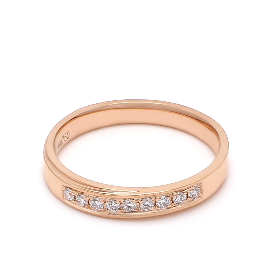 18K Rose Gold Harmonia Diamond Women Wedding Band