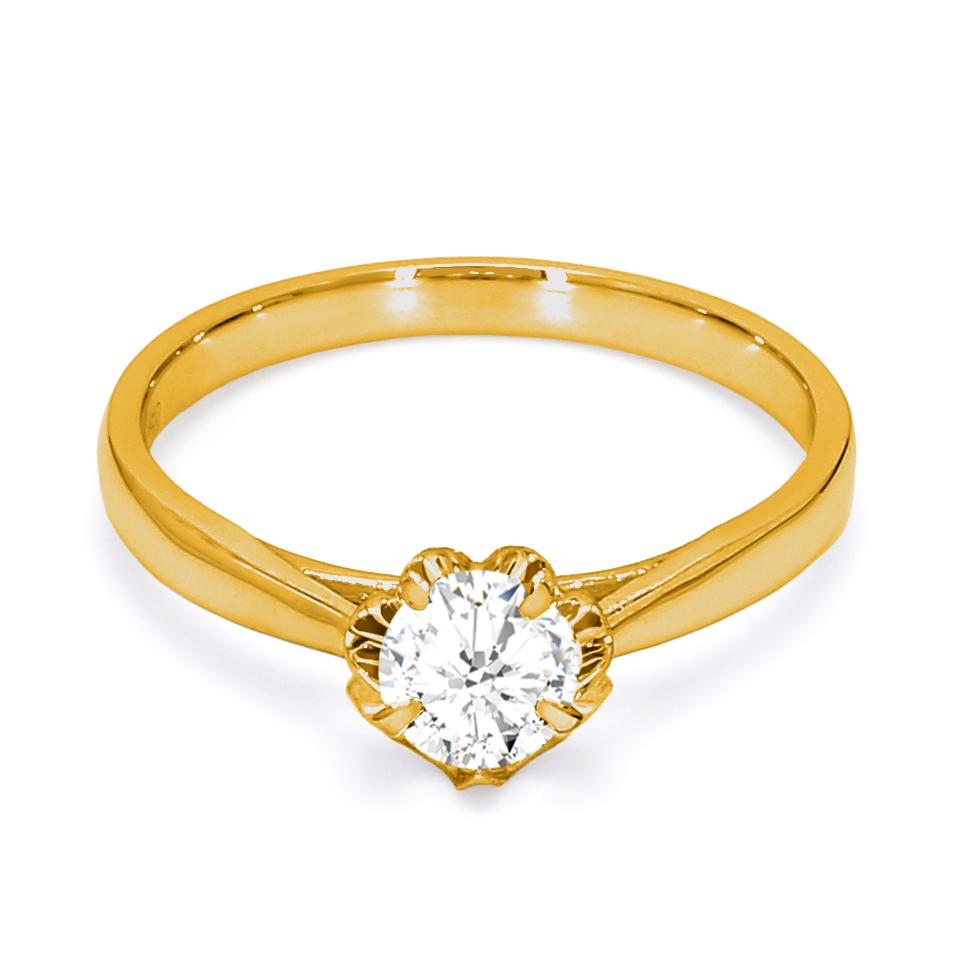 18K Yellow Gold Chrysler Diamond Engagement Ring