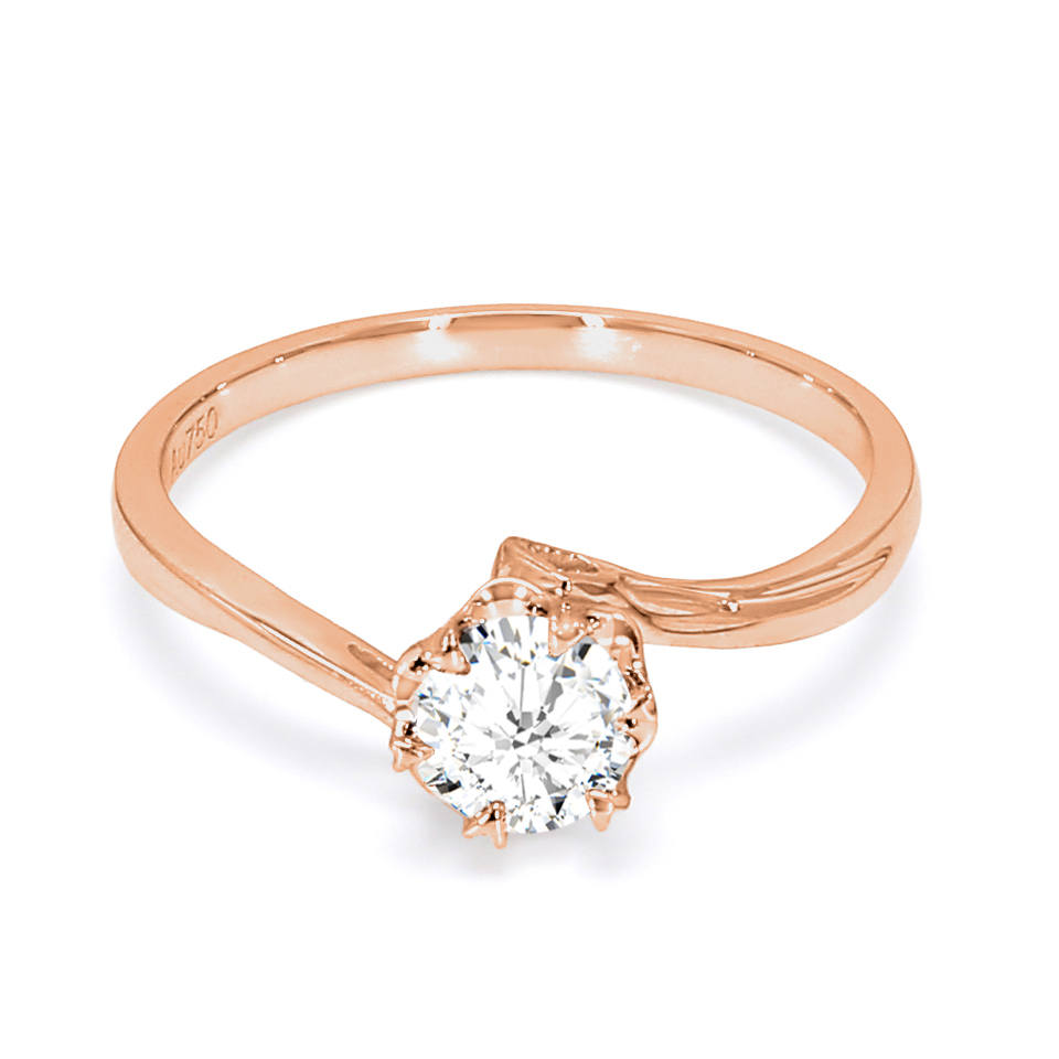 18K Rose Gold Perrier Diamond Engagement Ring