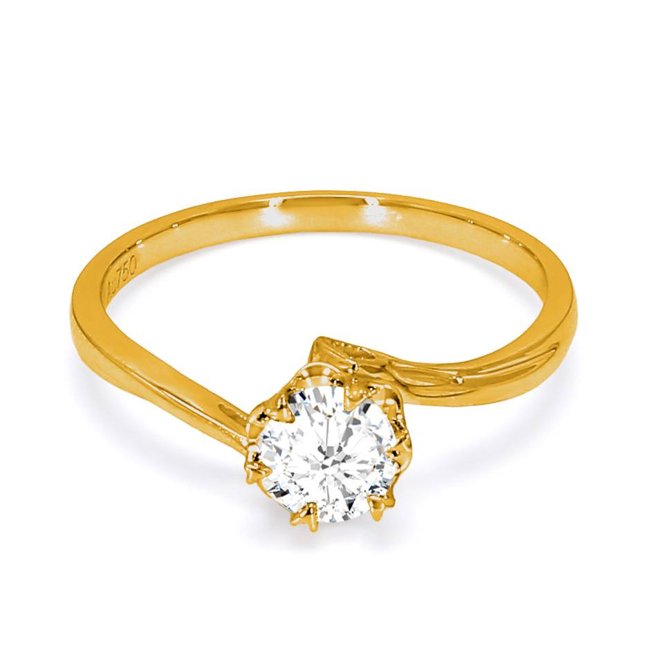 18K Yellow Gold Perrier Diamond Engagement Ring