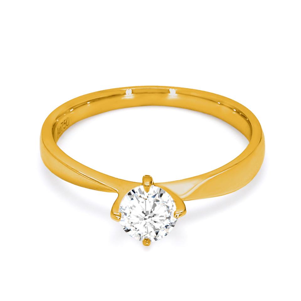 18K Yellow Gold Iris Diamond Engagement Ring