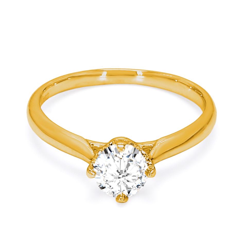 18K Yellow Gold Sona Diamond Engagement Ring