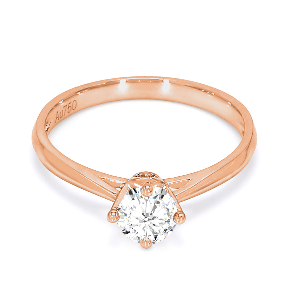 18K Rose Gold Luna Diamond Engagement Ring