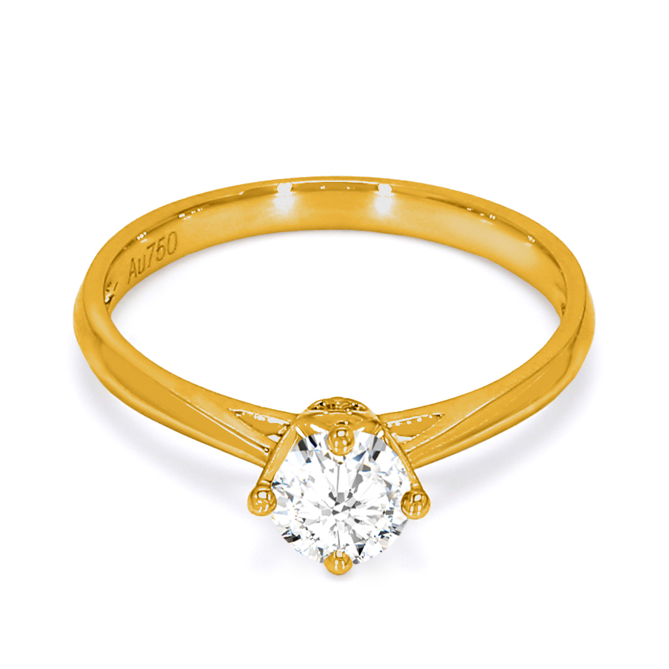 18K Yellow Gold Luna Diamond Engagement Ring