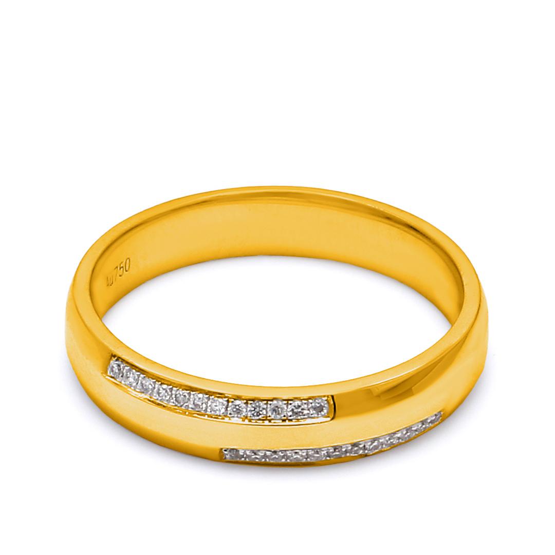 18K Yellow Gold Olivia Diamond Men Wedding Band