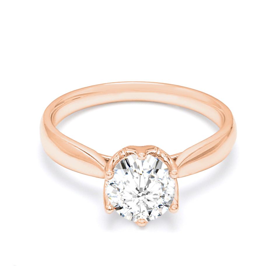 18K Rose Gold Hart Diamond Engagement Ring