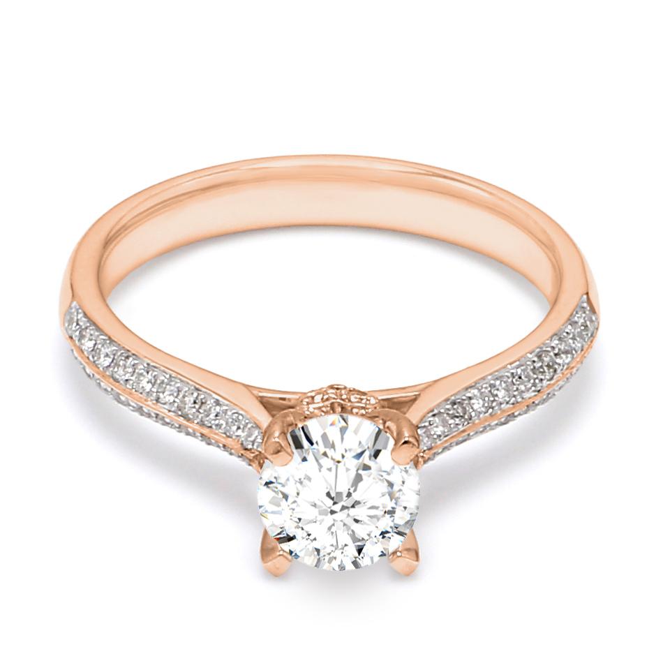 18K Rose Gold Coeur Diamond Engagement Ring