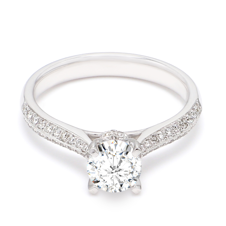 18K White Gold Coeur Diamond Engagement Ring