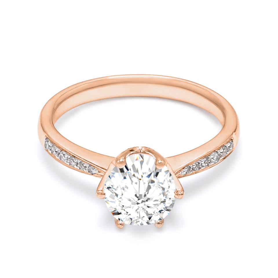 18K Rose Gold Peon Diamond Engagement Ring
