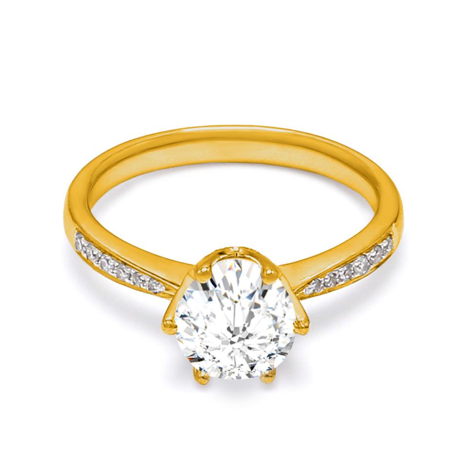 18K Yellow Gold Peon Diamond Engagement Ring