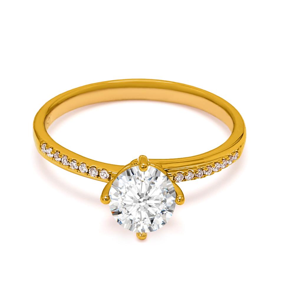 18K Yellow Gold Dusk Diamond Engagement Ring