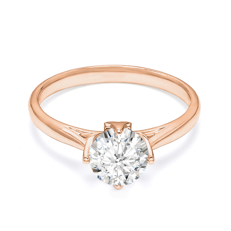 18K Rose Gold Calin Diamond Engagement Ring
