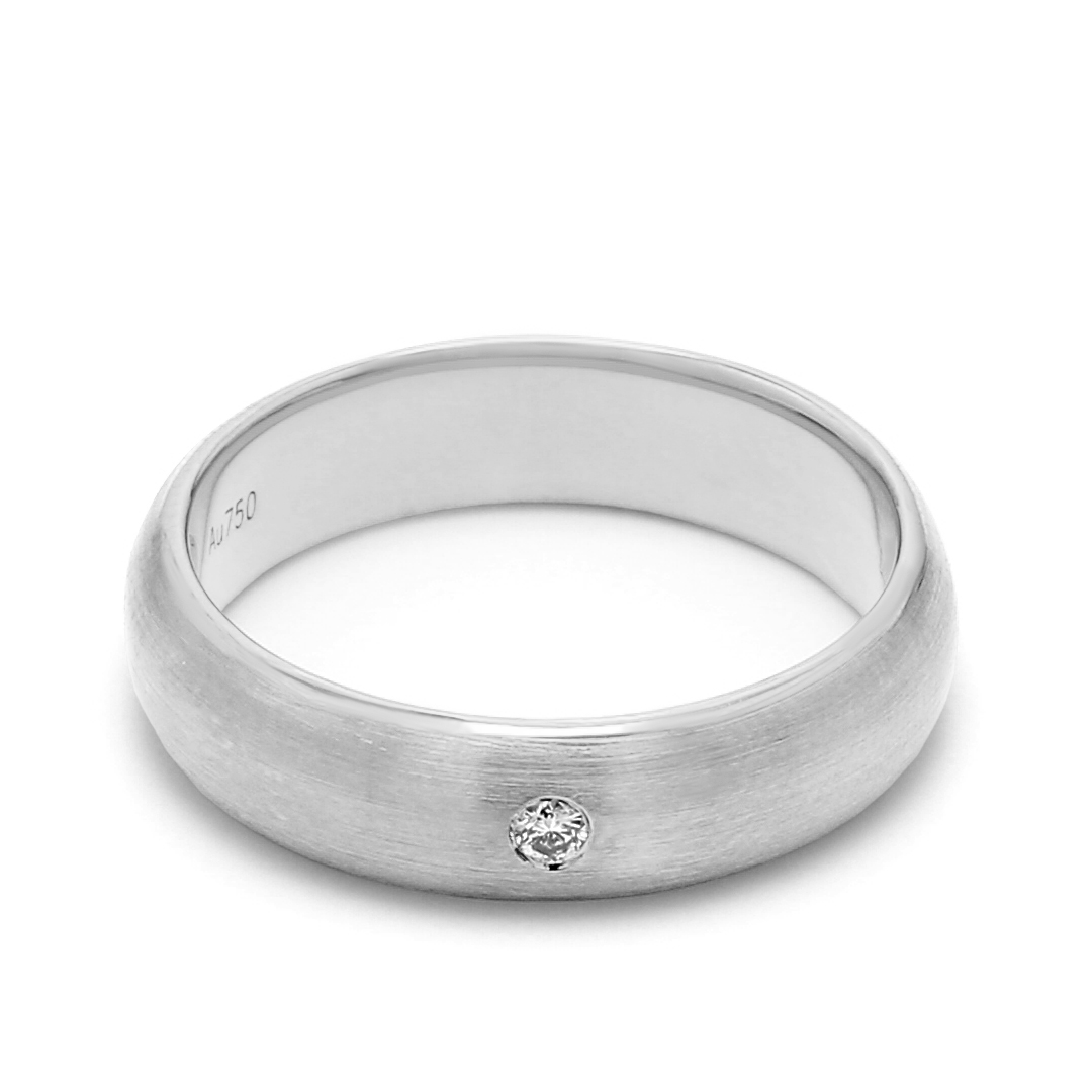 18K White Gold Helene Diamond Men Wedding Band