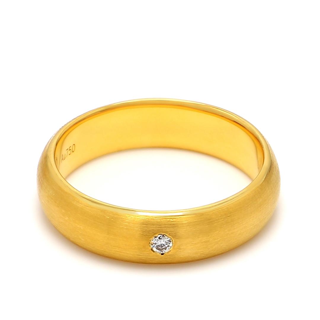 18K Yellow Gold Helene Diamond Men Wedding Band