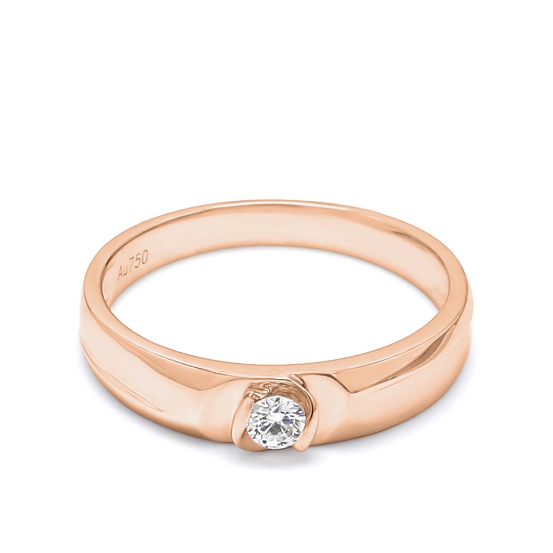 18K Rose Gold Lyra Diamond Men Wedding Band