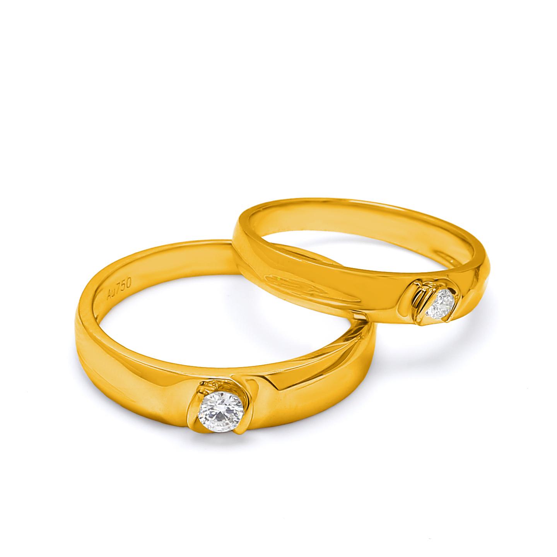 18K Yellow Gold Lyra Diamond Wedding Band