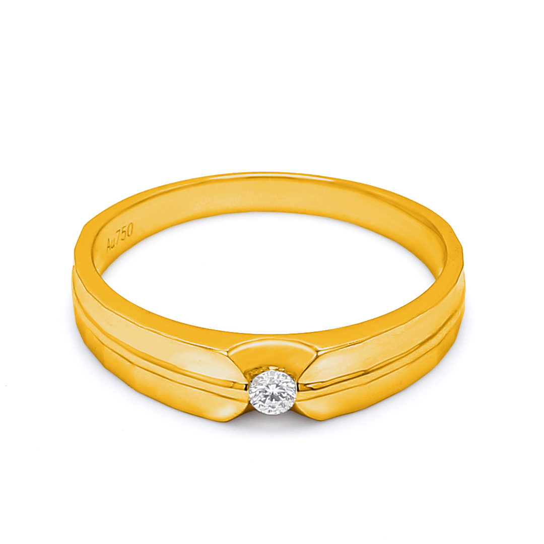 18K Yellow Gold Ophelia Diamond Men Wedding Band