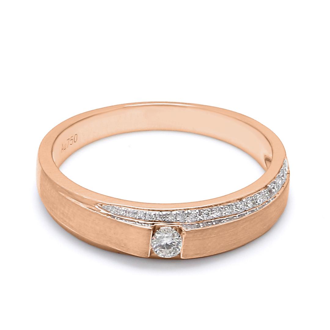 18K Rose Gold Mira Diamond Men Wedding Band