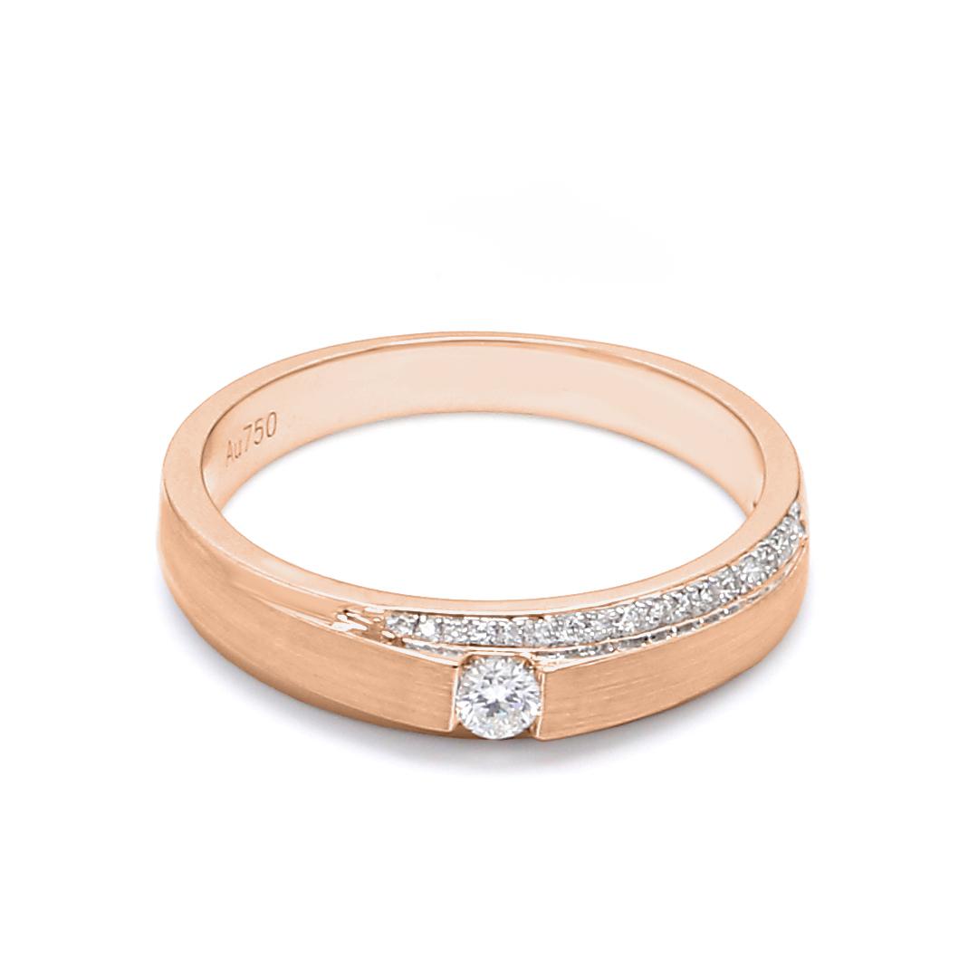 18K Rose Gold Mira Diamond Women Wedding Band