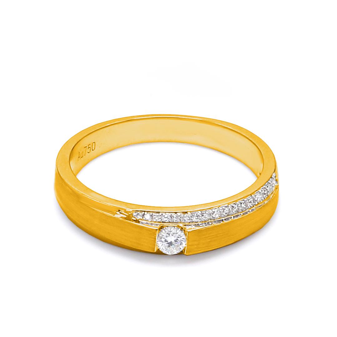 18K Yellow Gold Mira Diamond Wedding Band