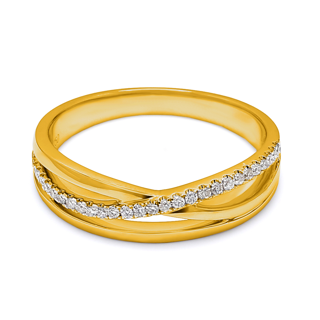 18K Yellow Gold Diana Diamond Men Wedding Band