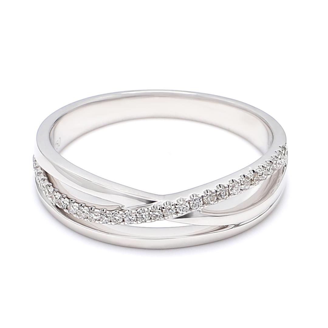 18K White Gold Diana Diamond Men Wedding Band