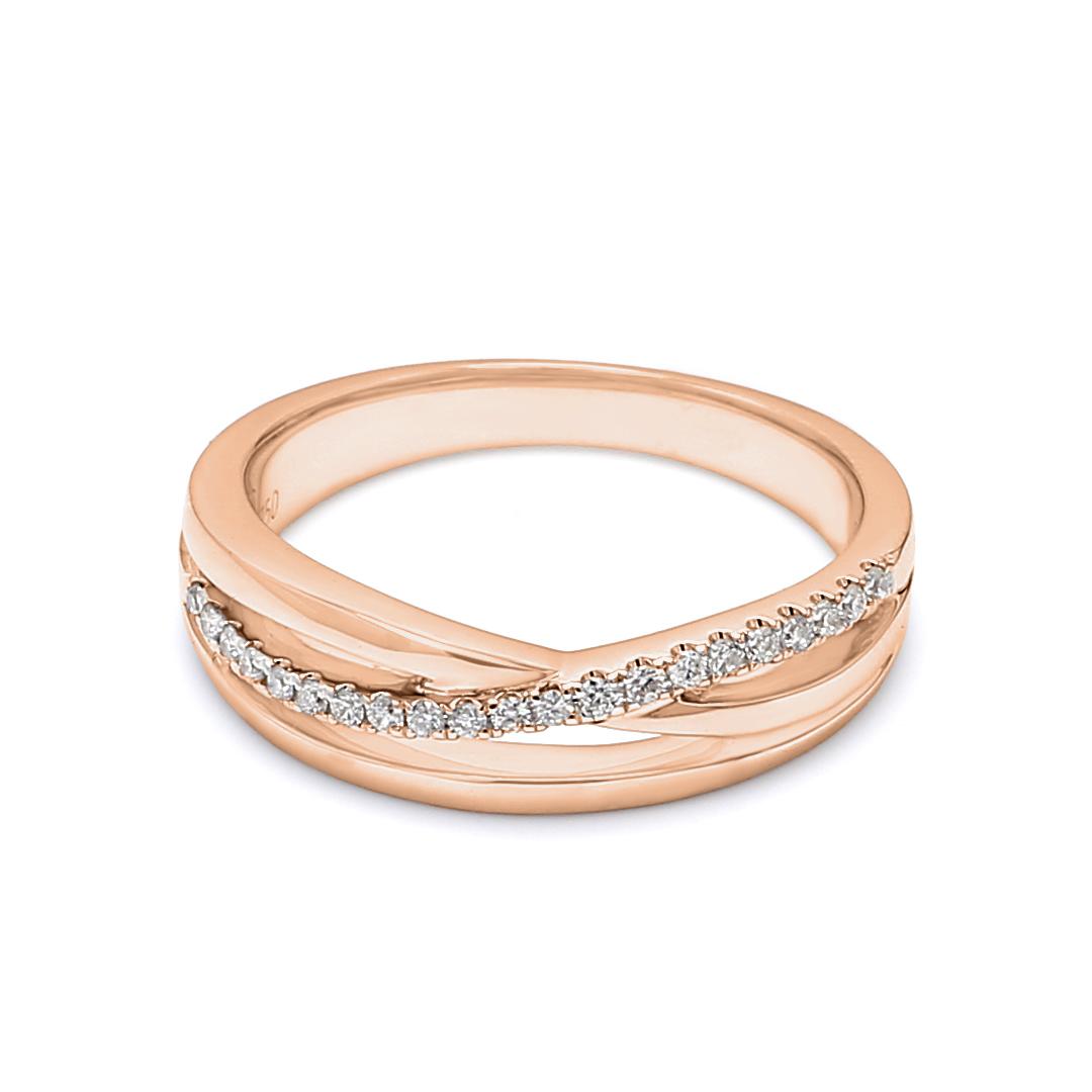 18K Rose Gold Diana Diamond Women Wedding Band