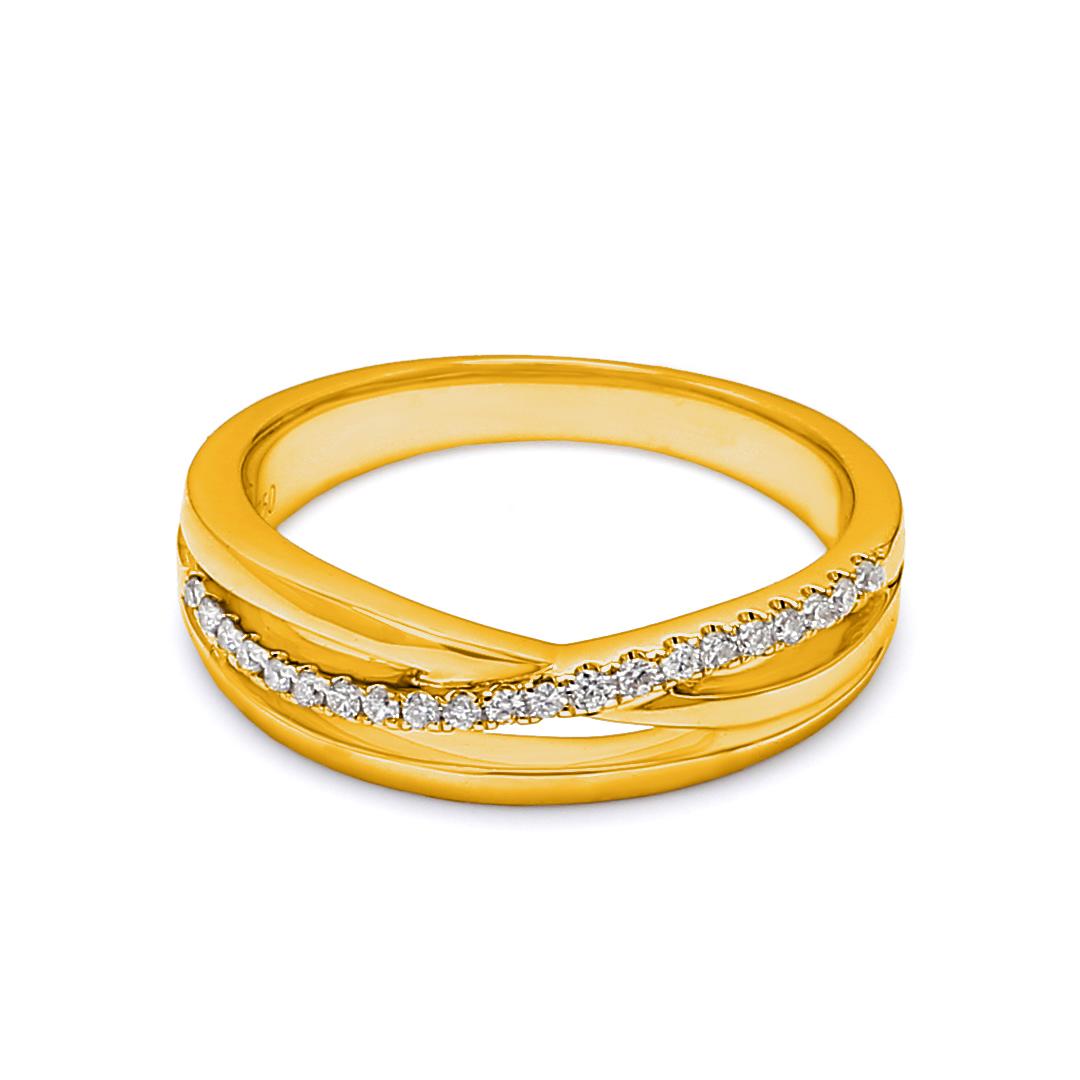 18K Yellow Gold Diana Diamond Women Wedding Band